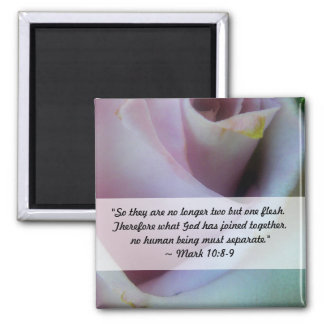 Lilac Rose Wedding Square Magnet