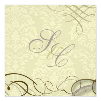 Lilac/scrolls/swooshes/ivory damask 13 cm x 13 cm square invitation card