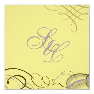 Lilac scrolls/swooshes/yellow damask 5.25x5.25 square paper invitation card