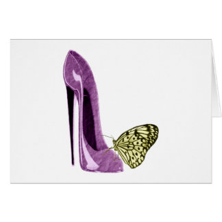 Lilac Stiletto Shoe and Butterfly Gifts Greeting Card