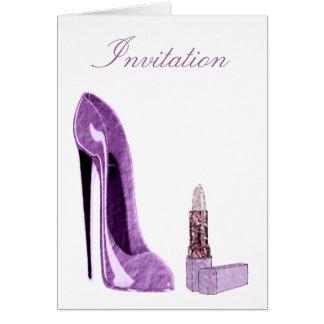 Lilac Stiletto Shoe and Lipstick Art Note Card