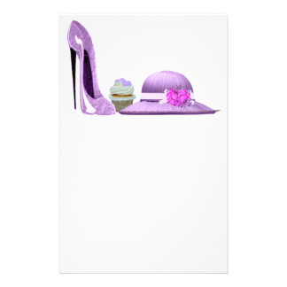 Lilac Stiletto Shoe, Cupcake and Hat Art Stationery