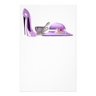 Lilac Stiletto Shoe, Hat and Teacup Art Stationery
