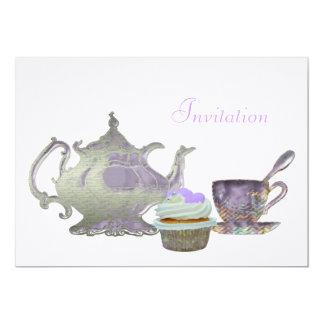 Lilac Tea Time Invitation 13 Cm X 18 Cm Invitation Card