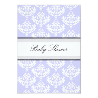 Lilac & White Damask It's a Girl Baby Shower Invites