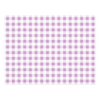 Lilac White Gingham Pattern Postcard