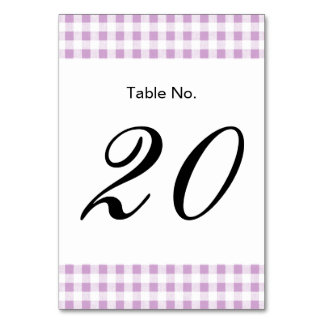 Lilac White Gingham Pattern Table Card