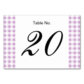 Lilac White Gingham Pattern Table Cards