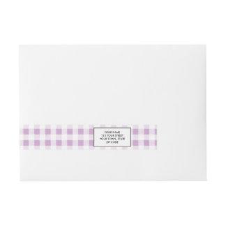 Lilac White Gingham Pattern Wraparound Address Label