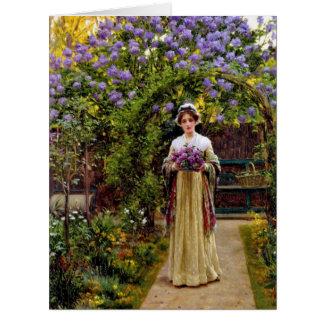 Lilacs 1901 large greeting card
