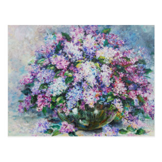 lilacs in a vase postcard