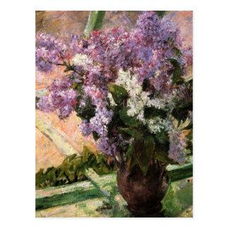 Lilacs in a Window by Mary Cassatt Postcard