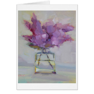 Lilacs in Glass Vase Greeting Card