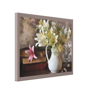 lilies and books canvas print