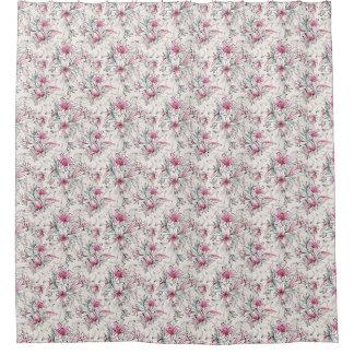 Lilies White Mauve Pale Pink floral Shower Curtain