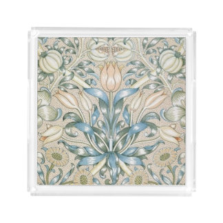 Lily and Pomegranate Vintage Floral Art Design Acrylic Tray