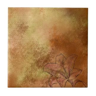 Lily in Orange Small Square Tile
