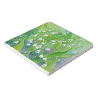 Lily of the Valley Flowers Watercolor Painting Trivet