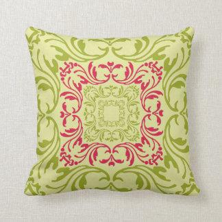 Lime and Pink Vintage Floral Pattern Damask Cushion