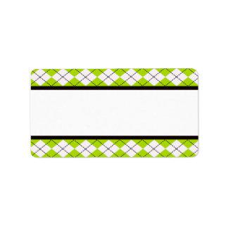 Lime Argyle Address Labels