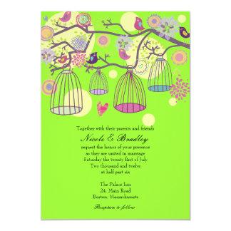 Lime Bird Cage Love Birds Wedding Invitation