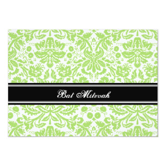 Lime Black Damask Bat Mitzvah Invitations