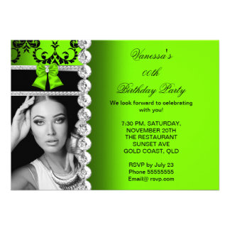 Lime Damask Black Jewel Bow Birthday Photo Announcements