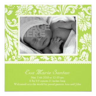 Lime Floral Birth Announcement