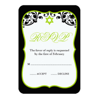 Lime Green and Black Swirls Bat Mitzvah RSVP Card