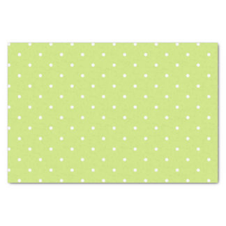 Lime Green and White Polka Dots Pattern Tissue Paper