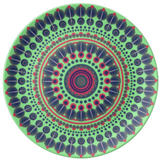 Lime green, blue and red Mandala decorative Plate