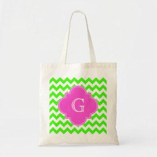 Lime Green Chevron Hot Pink Quatrefoil Monogram Tote Bag