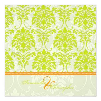 Lime green damask on Ivory Damask/orange accent 13 Cm X 13 Cm Square Invitation Card