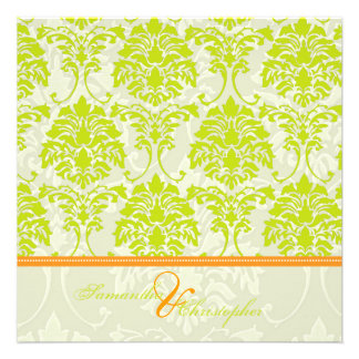 Lime green damask on Ivory Damask orange accent Announcements