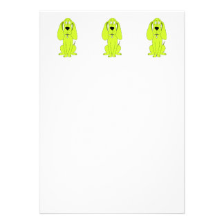 Lime Green Dog. Cute Hound Cartoon. Personalized Invites