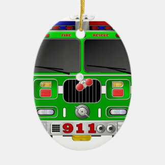 Lime Green Fire Truck Christmas Ornament