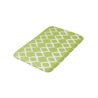 Lime Green Geometric Ikat Tribal Print Pattern Bath Mat