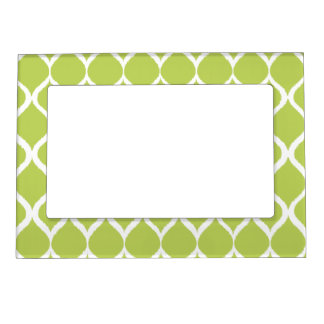 Lime Green Geometric Ikat Tribal Print Pattern Magnetic Frame