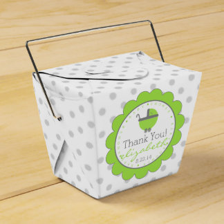 Lime Green & Grey Polka Dots-Baby Shower Wedding Favour Box