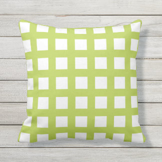 Lime Green Grid Check Outdoor Pillows