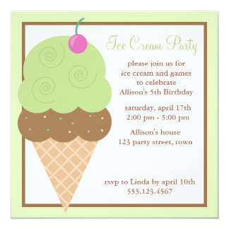 Lime Green Ice Cream Cone Birthday Party 13 Cm X 13 Cm Square Invitation Card