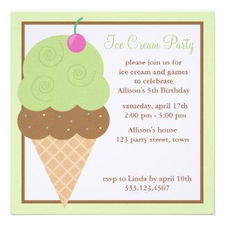 Lime Green Ice Cream Cone Custom Invitations
