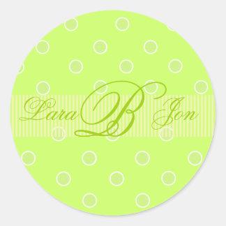 Lime green Monogram B stickers