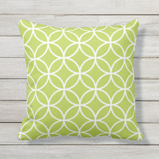 Lime Green Outdoor Pillows - Circle Trellis