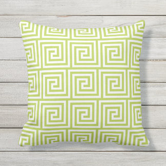 Lime Green Outdoor Pillows Greek Key