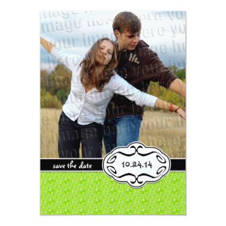Lime Green Photo Save the Date Card