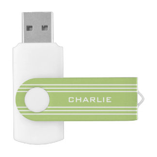 Lime Green Stripes custom monogram USB drives