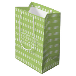 Lime Green Stripes custom text gift bags
