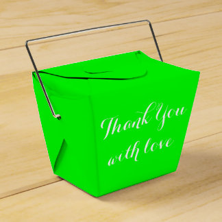 Lime Green Thank You Love Wedding Party Party Favour Box