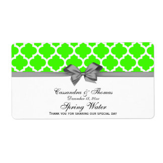 Lime Green, White Moroccan Gray Party Water Label